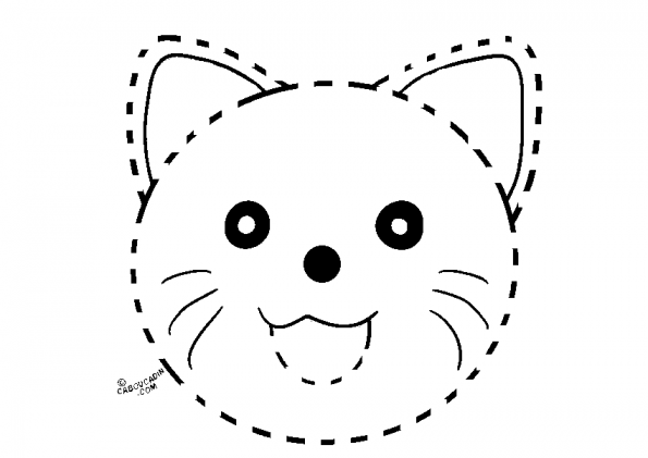 coloriage-avec-pointille-masque-chat-caboucadin