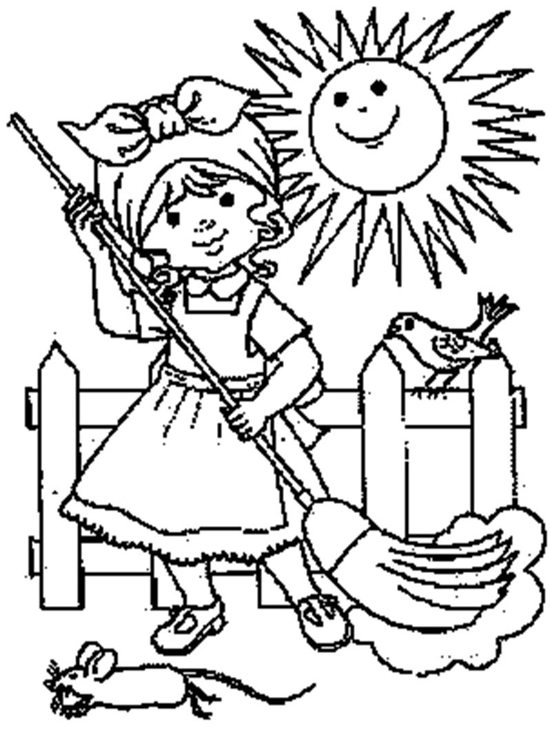 Housework free colouring pages - Coloriage fille ...