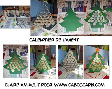 faire un calendrier de l 39 avent sapin avec des rouleaux en carton. Black Bedroom Furniture Sets. Home Design Ideas