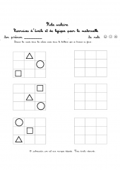 Exercices avec des ronds carres et triangles
