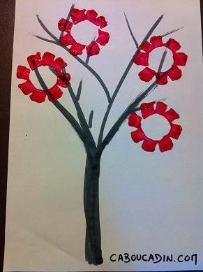faire un arbre japonais avec des fleurs roses. Black Bedroom Furniture Sets. Home Design Ideas